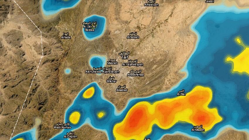 تحديث 2:00م | تزايد فرص الأمطار الرعدية على مدينة الطائف خلال الساعات القادمة