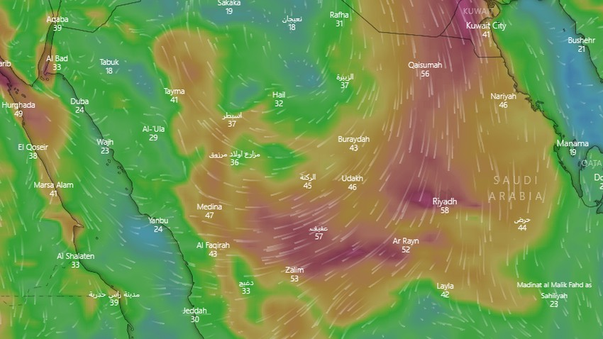 Saudi Arabia | An expected return to dusty weather in some regions of the Kingdom at the end of the week..details