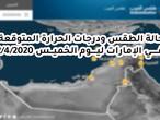 الإمارات| حالة الطقس ودرجات الحرارة المتوقعة ليوم الخميس 2/4/2020