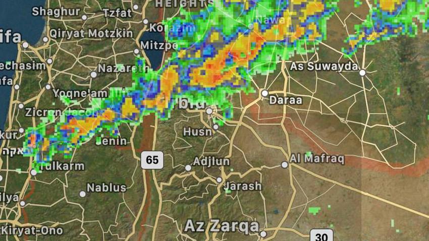 الأردن | أمطار رعدية غزيرة متوقعة على إربد وعجلون وأجزاء من جرش