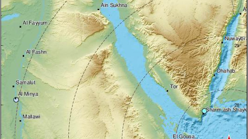 Word now An earthquake measuring 5.3 degrees near Sharm El-Sheikh in the Red Sea