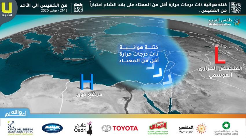 الأردن | كتلة هوائية أبرد من المعتاد نهاية الاسبوع ورياح نشطة في العديد من المناطق
