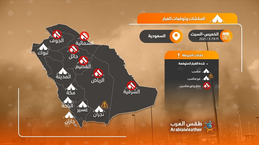 Saudi Arabia | Serious warnings to land-goers and sandstorm enthusiasts at the end of the week