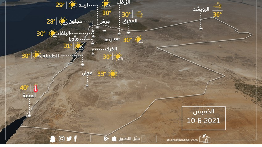 حالة الطقس ودرجات الحرارة المُتوقعة في الأردن يوم الخميس  10-6-2021