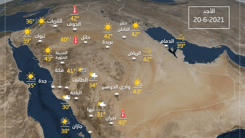 Weather condition and expected temperatures in Saudi Arabia on Sunday 20-6-2021