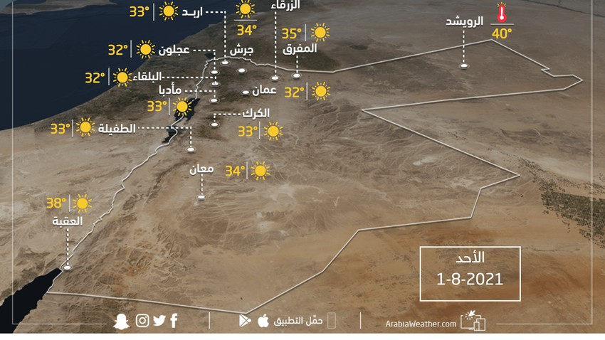 Conditions météo et températures attendues en Jordanie le dimanche 1-8-2021