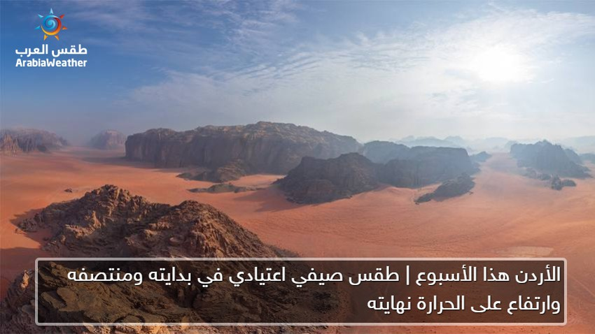 Jordan Normal summer weather, beginning and mid-week, and a high temperature at the end