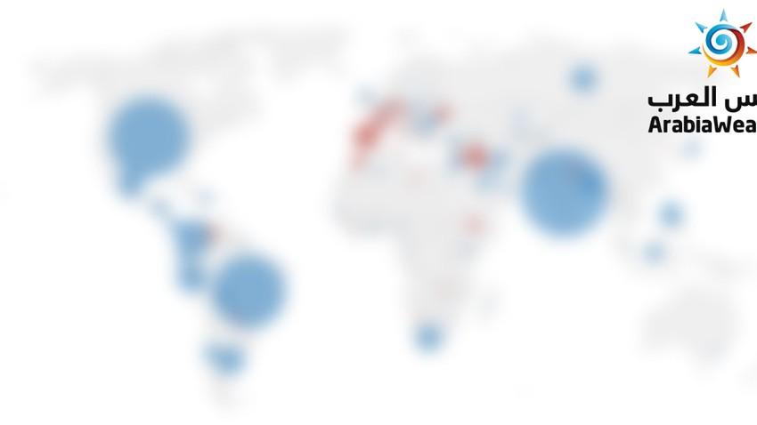 خريطة: شاهد البلدان التي ارتفعت أو انخفضت فيها حالات كورونا الأسبوع الماضي بالمقارنة مع الاسبوع الذي سبقه
