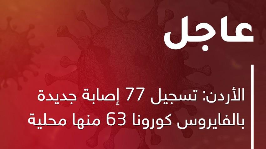 الأردن: تسجيل 77 إصابة جديدة بالفايروس كورونا 63 منها محلية