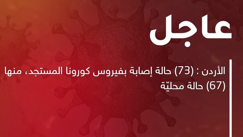 الأردن : (73) حالة إصابة بفيروس كورونا المستجد، منها (67) حالة محليّة