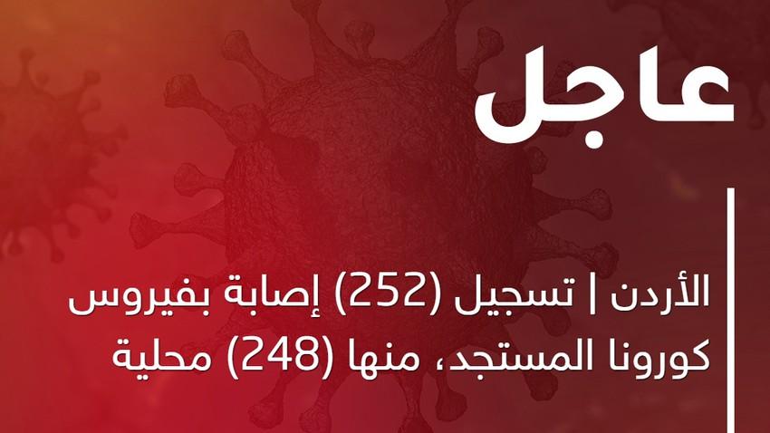 الأردن | تسجيل (252) إصابة بفيروس كورونا المستجد، منها (248) محلية