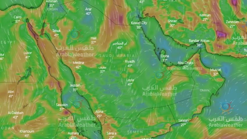 السعودية   رياح هادئة عموماً نهار الثلاثاء باستثناء هذه المناطق