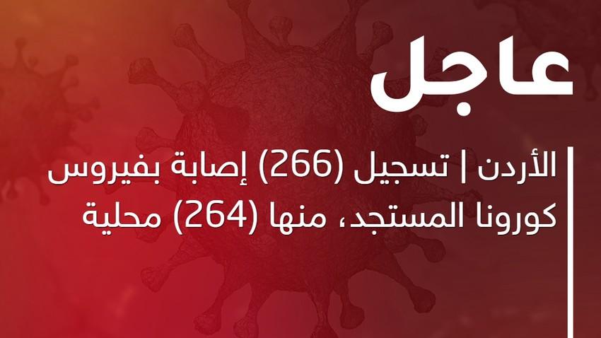 الأردن | تسجيل (266) إصابة بفيروس كورونا المستجد، منها (264) محلية