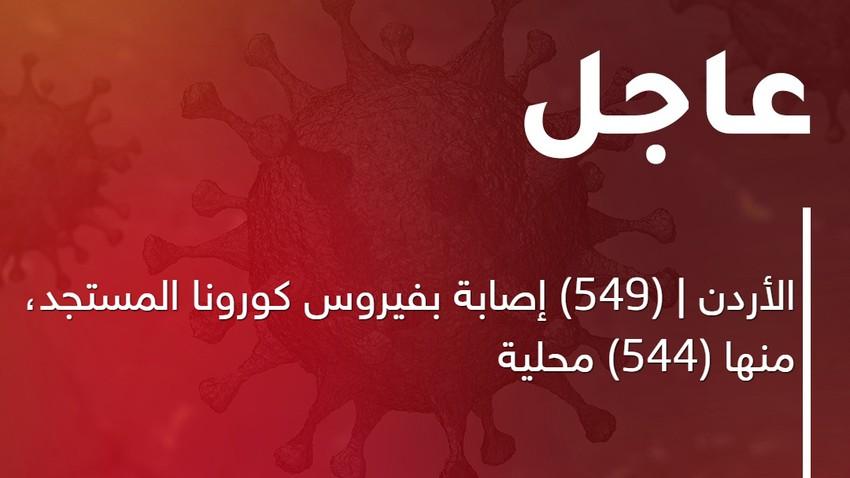 الأردن | (549) إصابة بفيروس كورونا المستجد، منها (544) محلية