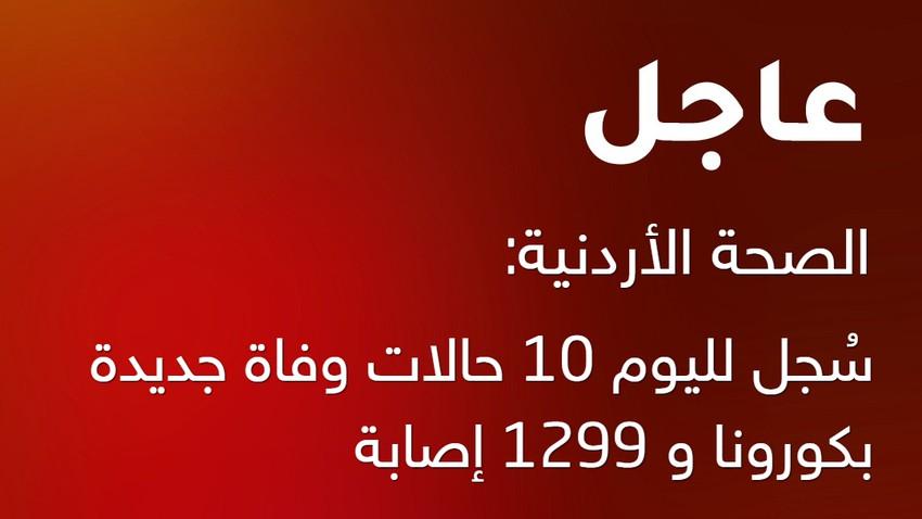 الصحة الأردنية: سُجل لليوم 10 حالات وفاة جديدة بكورونا و 1299 إصابة