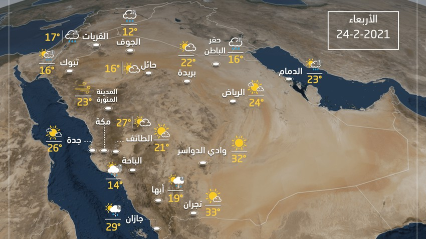 Weather and expected temperatures in Saudi Arabia on Wednesday 24-2-2021