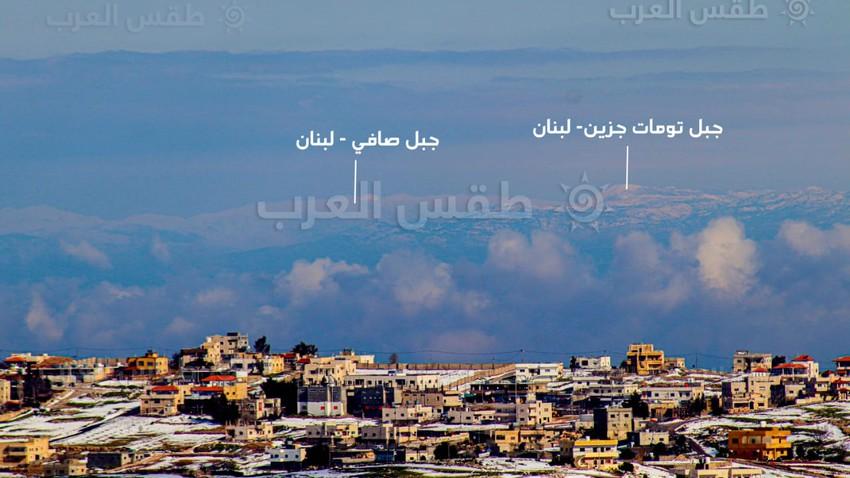 مشهد نادر   صورة تجمع ثلوج الاردن ولبنان في اطارٍ واحد