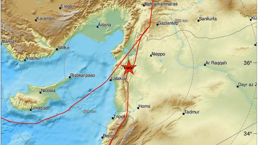 An earthquake measuring 3.9 Richter in northwestern Syria