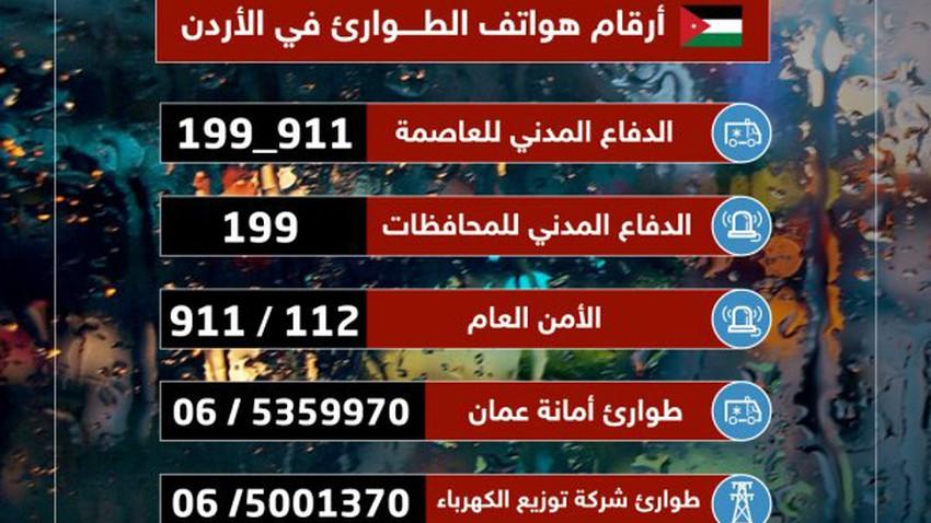 هام/الأردن | أرقام الطوارئ التي قد تحتاجها عند تساقط الأمطار الغزيرة أو الثلوج
