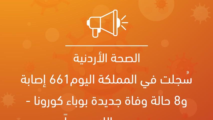 الصحة الأردنية: 661 إصابة و8 حالة وفاة جديدة بوباء كورونا - رحمهم الله جميعاً
