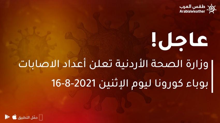 وزارة الصحة الأردنية تعلن أعداد الاصابات بوباء كورونا ليوم الإثنين 16-8-2021