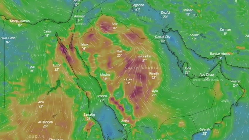 Saudi Arabia | Active winds raise dust on a large scale on Sunday