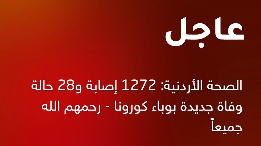 الصحة الأردنية: 1272 إصابة و28 حالة وفاة جديدة بوباء كورونا