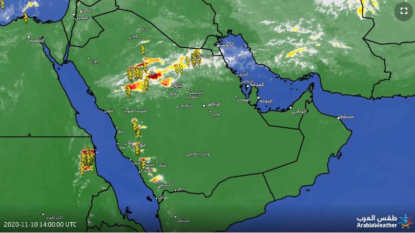 تحديث 5:30م | تجدد التقلبات الجوية والأمطار الرعدية في العديد من المناطق