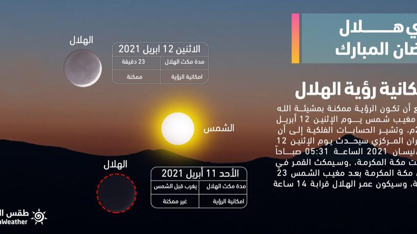 هل ستتمكن الدول العربية من رصد هلال شهر رمضان 1442 مساء الأحد؟