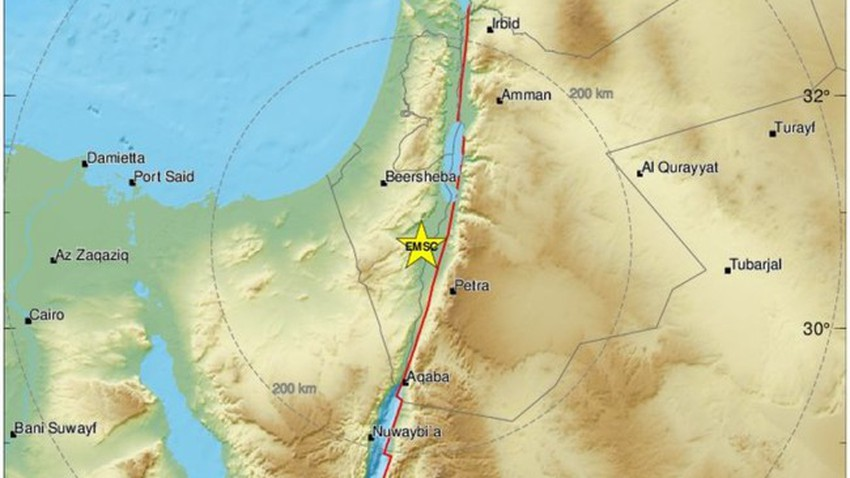 The recurrence of the earthquake in Jordan and Palestine after it occurred on the same date last year