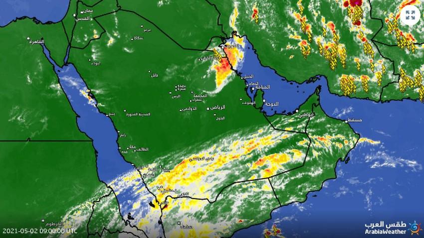 تحديث 12:30م | حزام من السحب الرعدية يتحرك نحو النعيرية وربما الجبيل والدمام الساعات القادمة