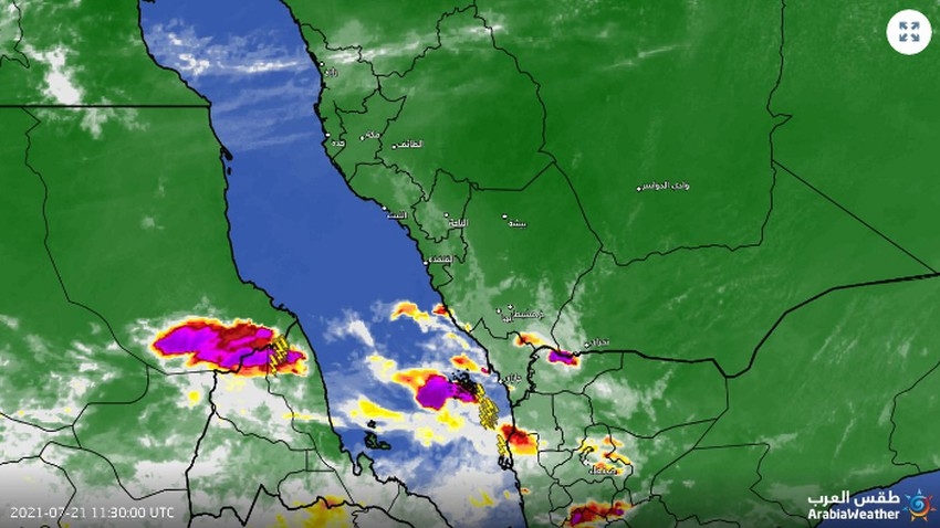 Saudi Arabia - Update 3:04PM | Thunder clouds and rain will continue to develop on Farasan Island in the coming hours