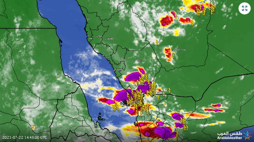 Jizan - 6:20pm | Additional intensification of clouds and more intense and comprehensive rains in the coming hours