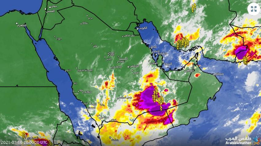 تحديث 11:40م   عواصف رعدية شديدة وممطرة تجتاح الربع الخالي الان