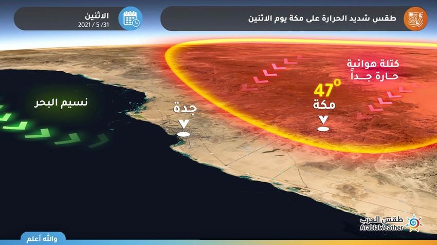 مكة المكرمة | الحرارة تقترب من الـ 50 يوم الإثنين وتحذيرات جدية من الإجهاد الحراري وضربات الشمس