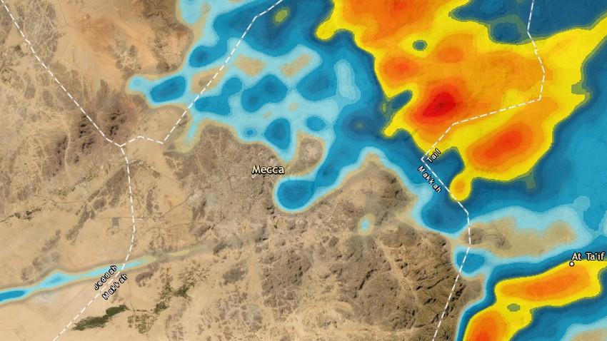 مكة المكرمة | تطورات سريعة ترصدها الأقمار الإصطناعية وأمطار رعدية محتملة خلال الساعات القادمة
