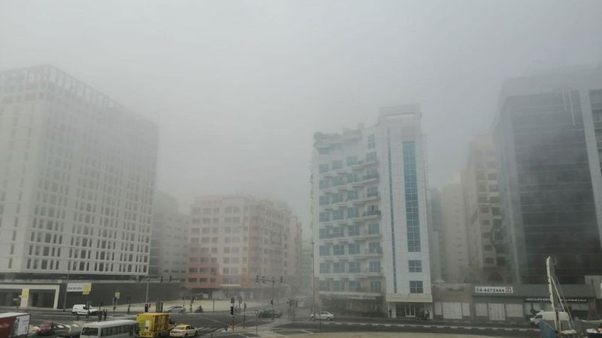 Fog covers UAE cities and a red alert warns of low visibility on the roads