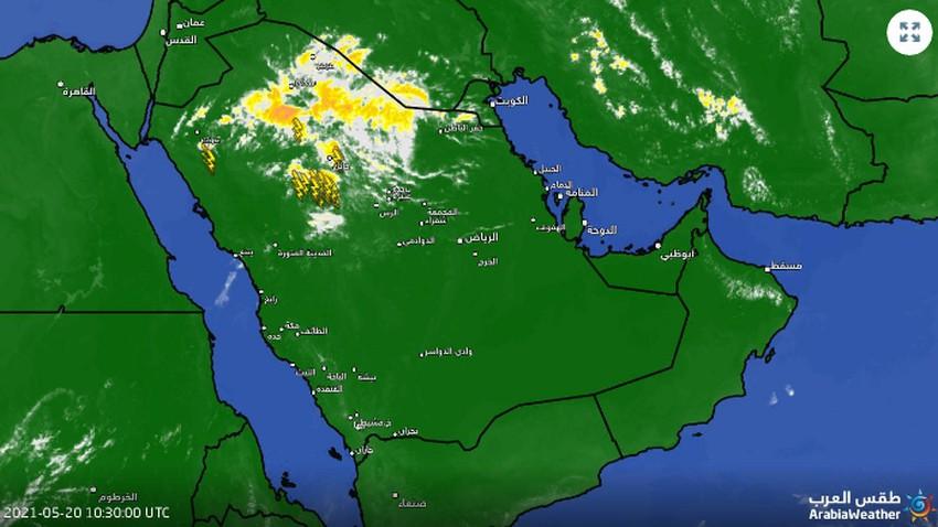 تحديث 2:05م | رغم الحرارة العالية .. سحب رعدية وأمطار غرب منطقة حائل الآن