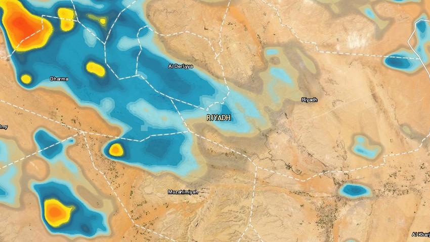 تحديث 5:00م | سُحب رعدية تقترب من مدينة الرياض وفرص الأمطار واردة الساعات القادمة ووقت الإفطار