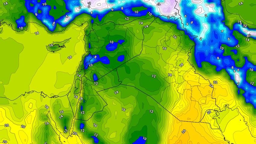 الأردن   تباين واضح على درجات الحرارة خلال الايام القادمة