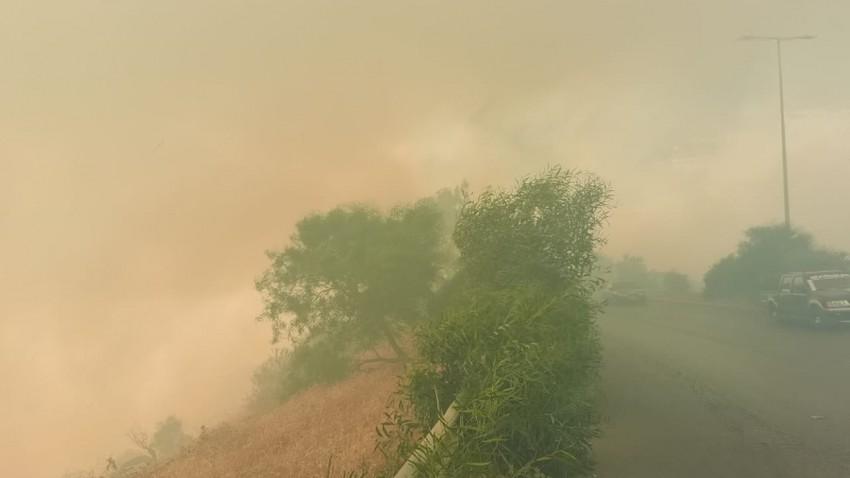Urgent   Civil Defense deals with a major fire on Amman-Jerash road
