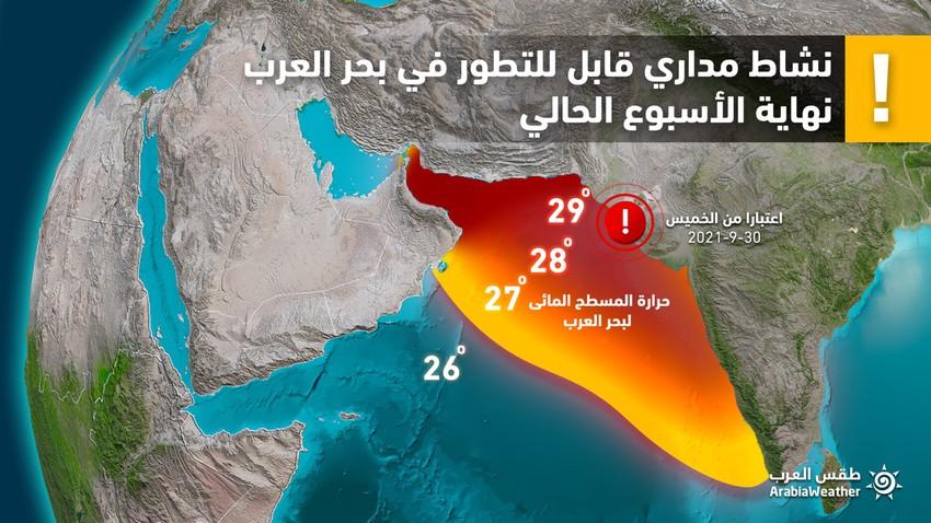 هام | أبرز العوامل التي ستزيد من تعمق وتطور الحالة المدارية جلاب في بحر العرب