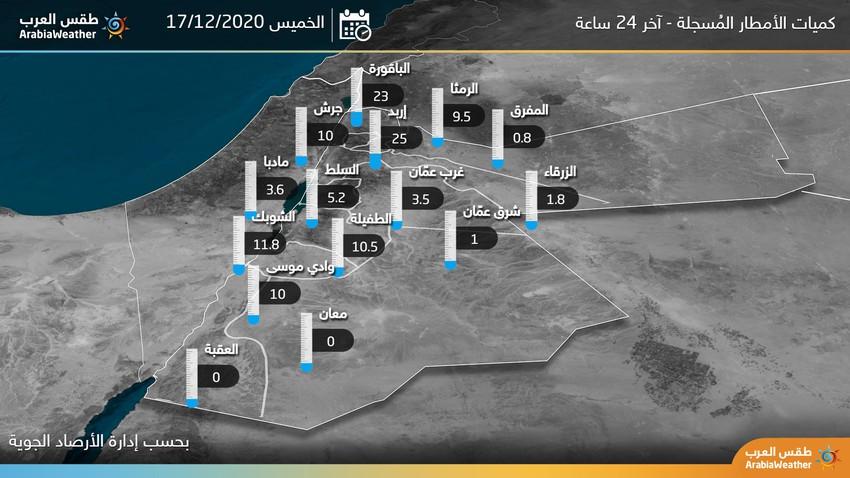 كميات الأمطار المسجلة خلال آخر 24 ساعة بحسب الأرصاد الجوية ومحطات طقس العرب