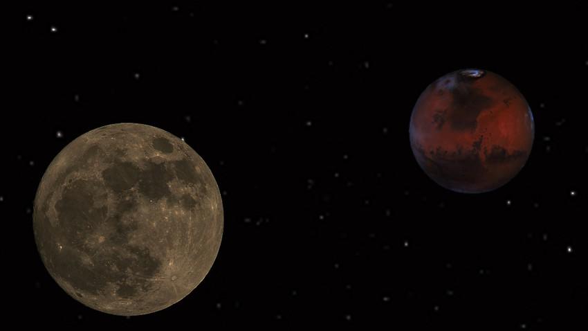 ماذا نعني عندما نقول اقتران كوكب القمر بالمريخ؟