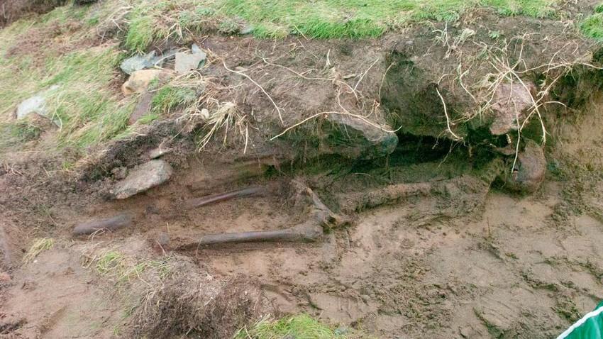 بالصور .. إعصار أوفيليا يقذف هيكل إنسان من العصر الحديدي إلى اليابسة