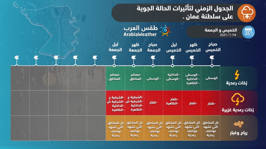 Sultanate of Oman | Arab Weather releases the timeline for the rainy situation until Friday evening