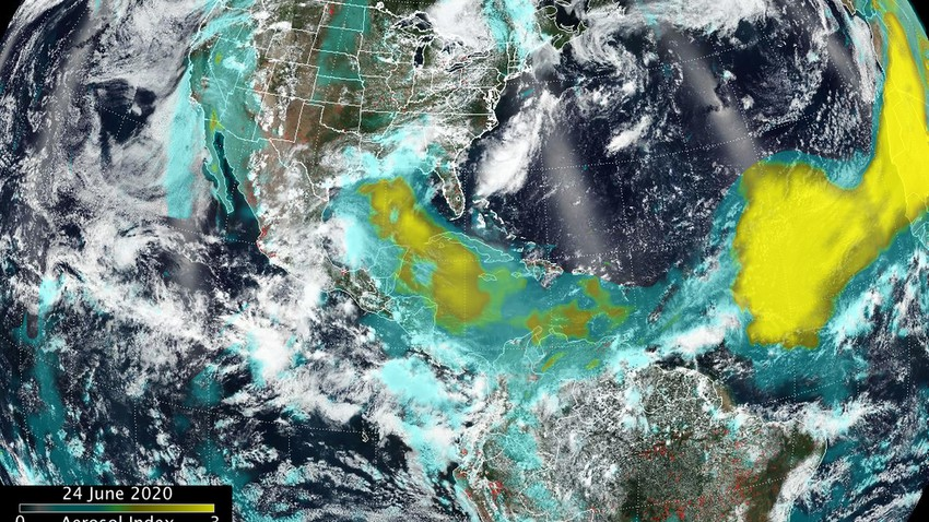 Satellite imagery of NASA monitors the largest sandstorm on Earth