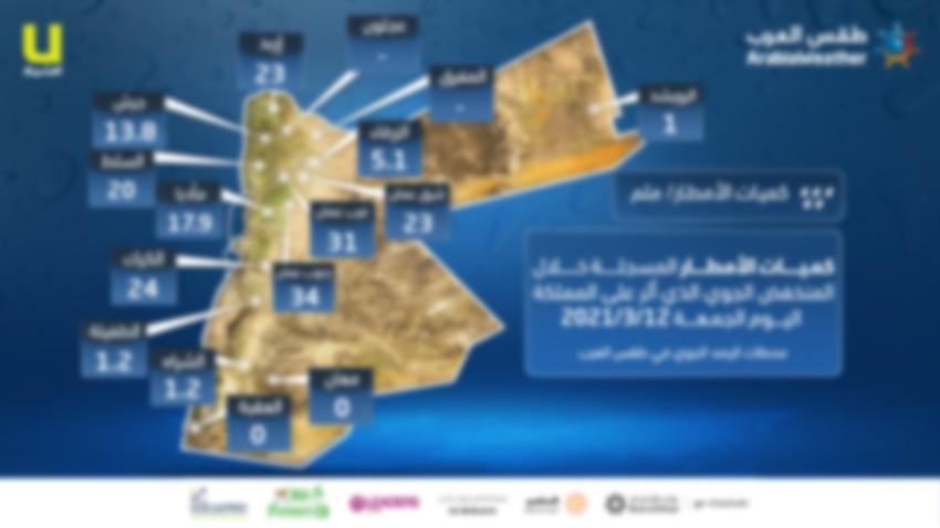 الأردن | كميات الامطار المُسجلة خلال تأثير المنخفض الجوي الاخير بحسب محطات طقس العرب | الجمعة 12/3/2021