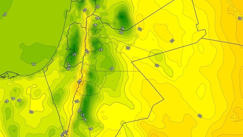Wednesday | A decrease in temperatures with the emergence of clouds at different altitudes