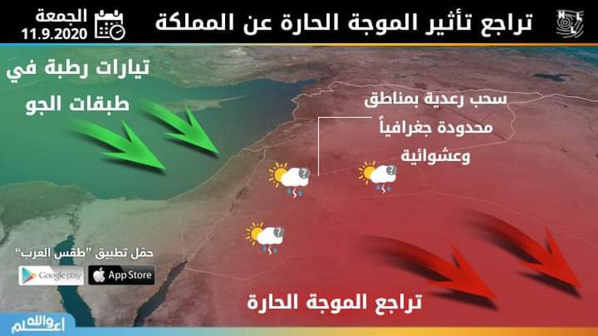 الأردن | تراجع تأثير الموجة الحارة الجمعة بالتزامن مع سُحب رعدية بمناطق محدودة وعشوائية